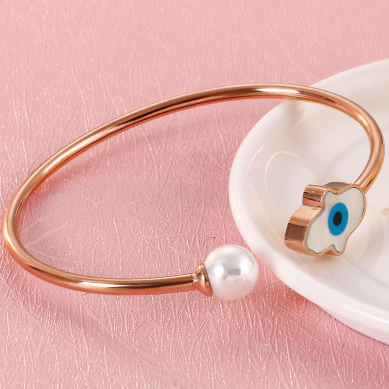Yeux spéciaux Pearl Shell Bangles Boutons de manchette Bracelets de femmes filles de haute qualité en acier inoxydable 316L Nouveau bijoux à la mode coréenne