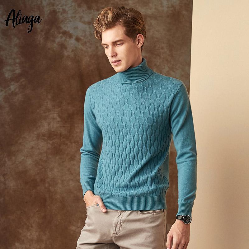 Großhandel Gerippter Strickpullover Männer 100% Ziege Kaschmir Pullover Weihnachten Pullover Herren Warm Fashion Rosa Jumper Rollkragen Oberbekleidung