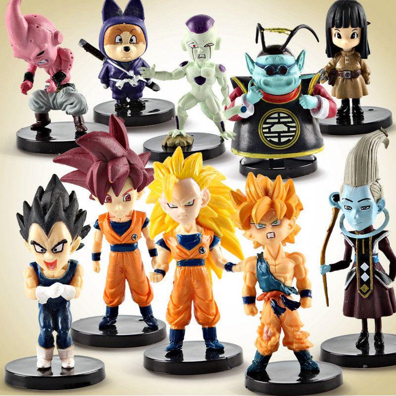 10pcs/lot Anime Dragon Ball Z Super Saiyan Son Goku Vegeta Buu Freeza set PVC Action Figure Collectible Model kids gift