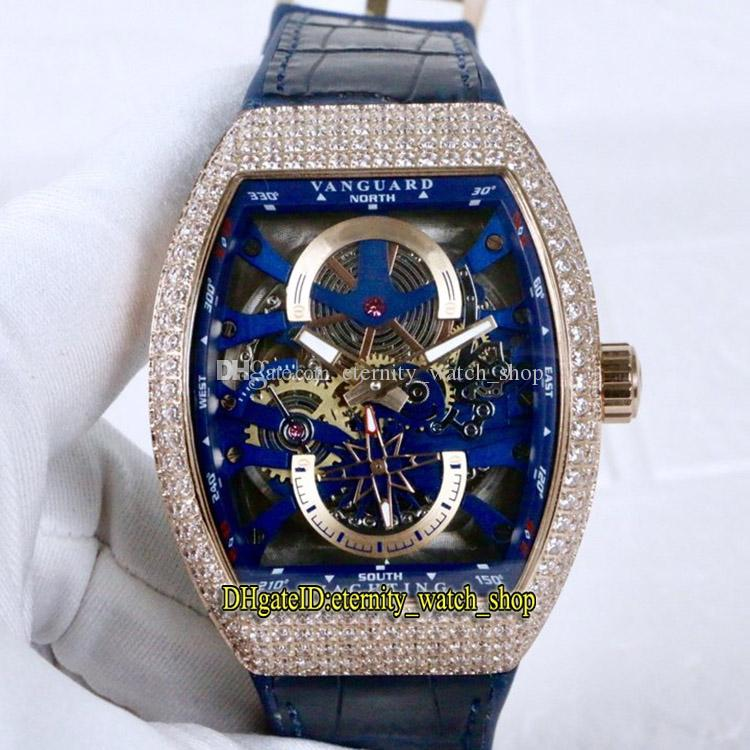 Luxry New Saratoge Vanguard S6 Yachting V45 S6 Yacht Blue Skeleton Dial Miyota Automatic Mens Watch Rose Gold Diamond Case Couro Relógios de couro