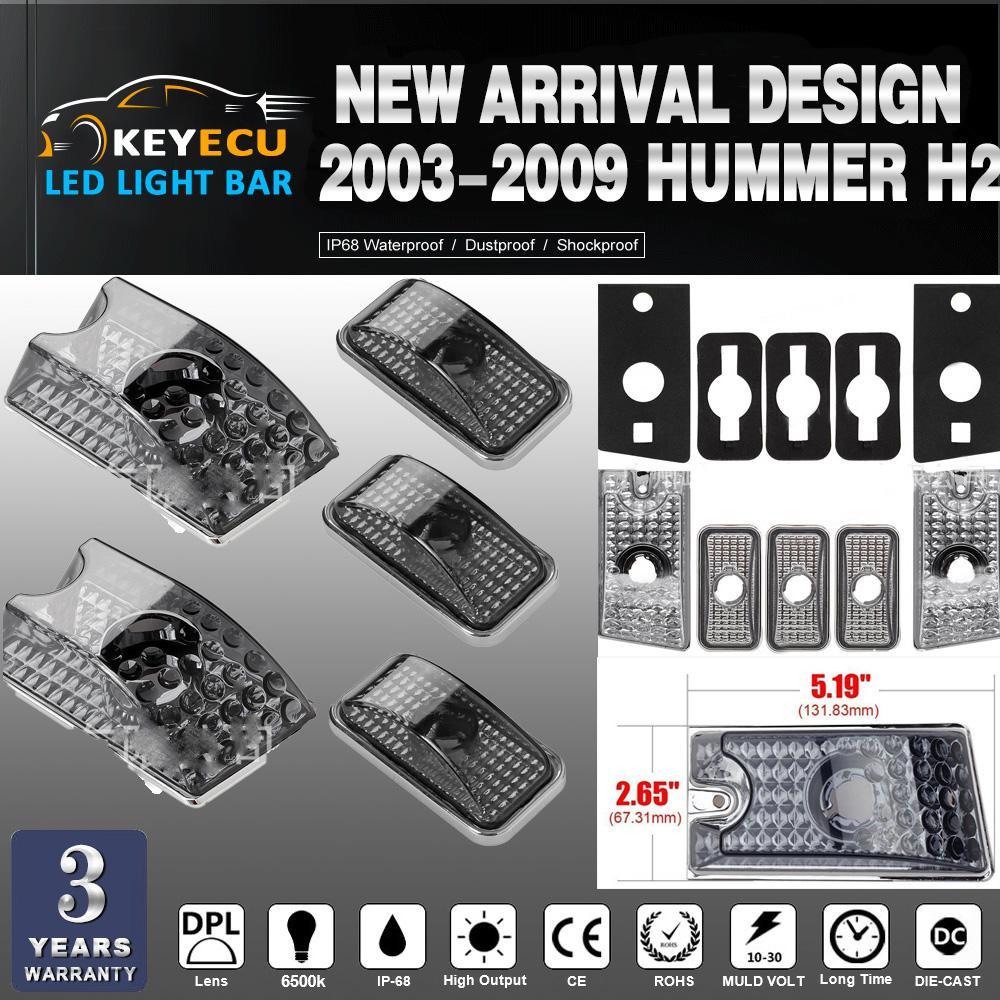 KEYECU 5 adet / takım Duman Lens Üst Çatı Cab Marker Işık 2003-2009 Hummer H2 SUV için Kapak Lens SUT