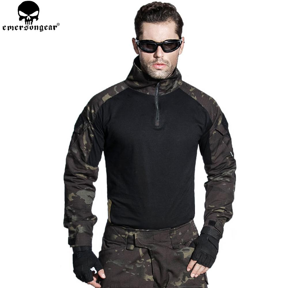 EMERSONGEAR Airsoft BDU Tactical Uniform Combat Shirt Pants with Elbow Knee Pads Hunting Clothes Multicam Black