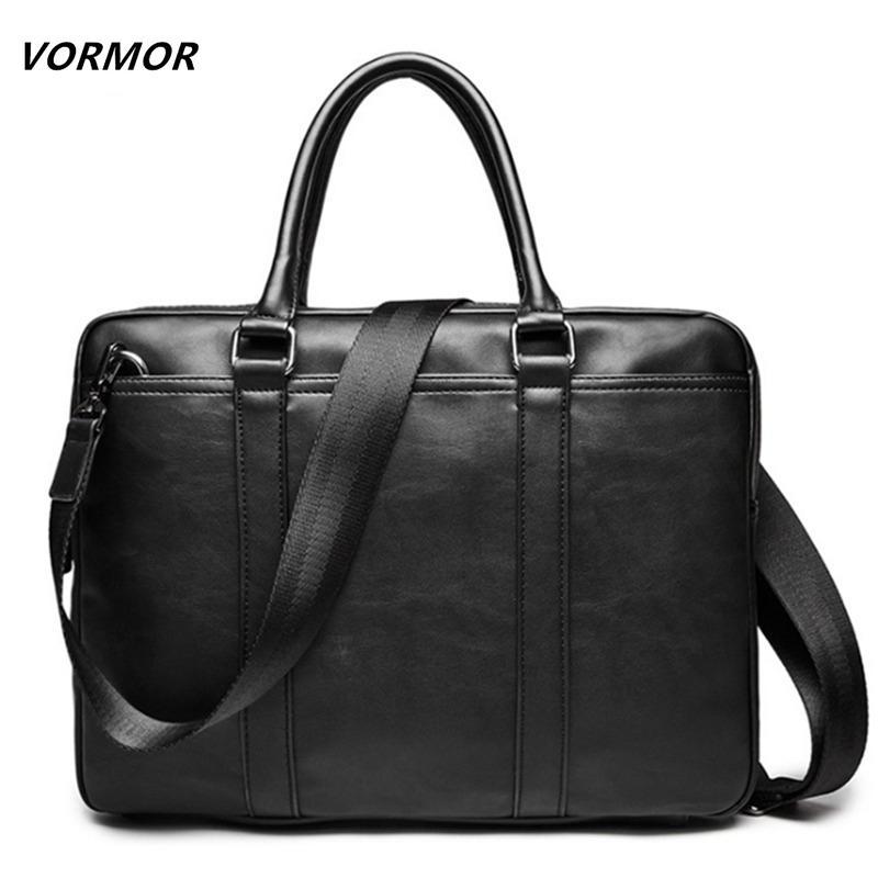 VORMOR Promotion Simple Business Men Briefcase Bag Luxury Leather Laptop Bag Man Shoulder bolsa maleta