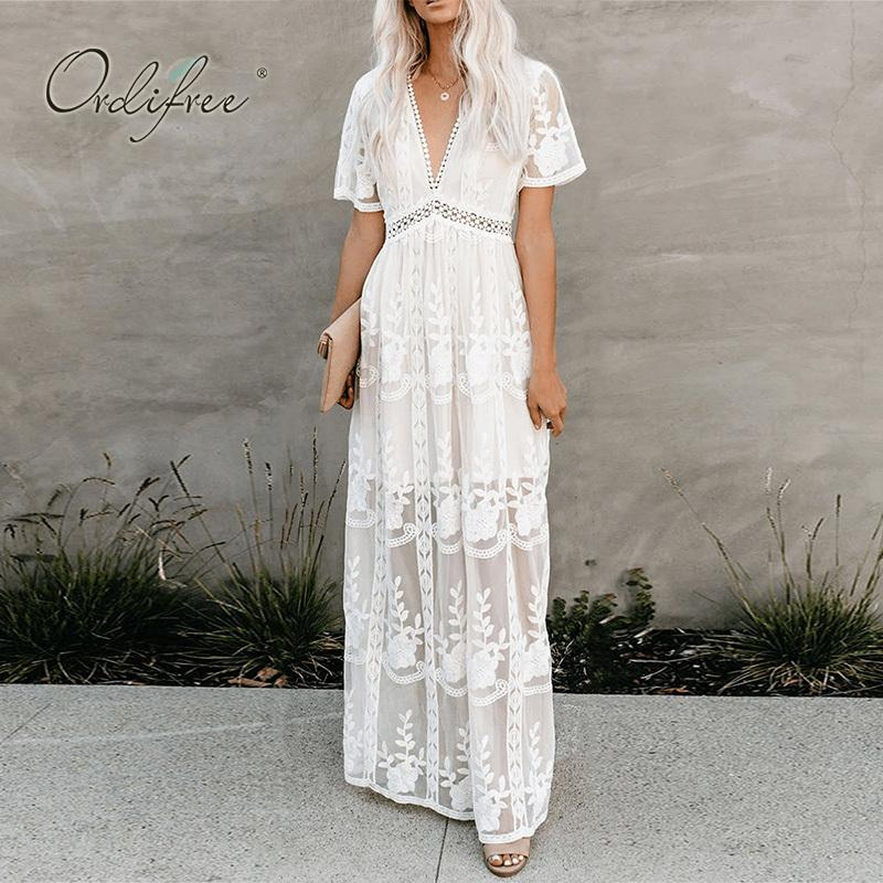 Ordifree 2020 Summer Boho Women Maxi Dress Loose Embroidery White Lace Long Tunic Beach Dress Vacation Holiday Clothes MX200508
