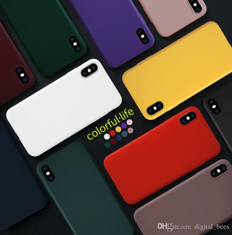 Super Silicon TPU Case For Iphone 11 pro Max Xs Max 8 plus Matte Case Solid Colorful Phone Case