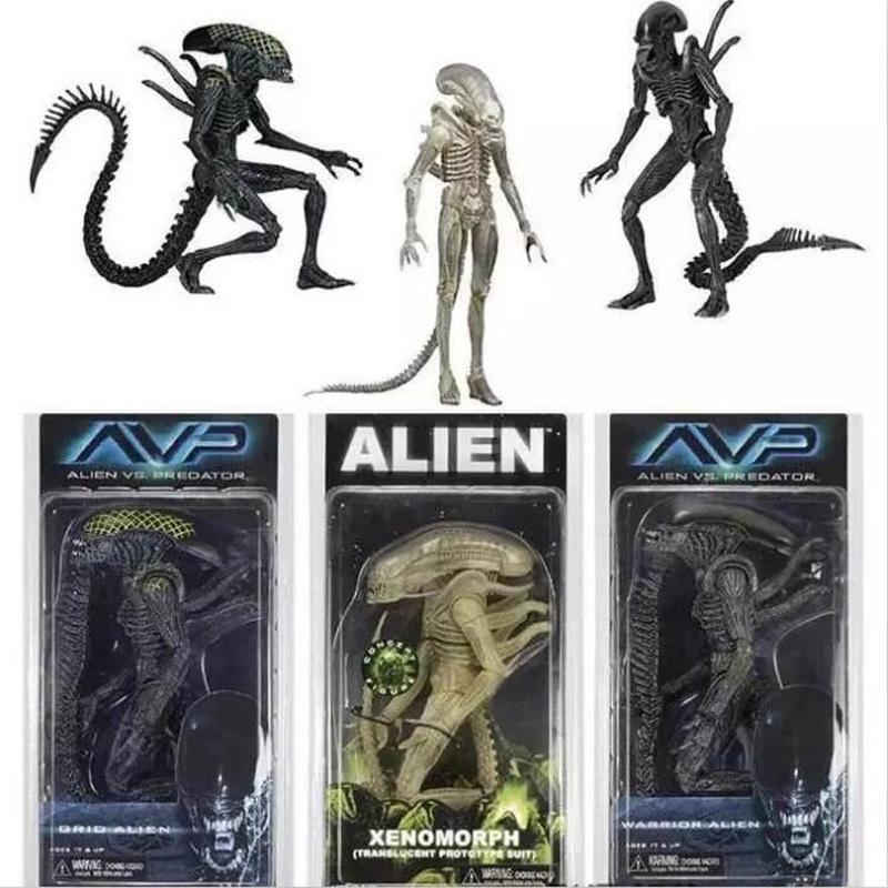 Neca Aliens Vs Predator Avp Series Grid Alien Xenomorph Translucent Prototype Suit Warrior Alien Action Figure Model Toy 18cm Y190604