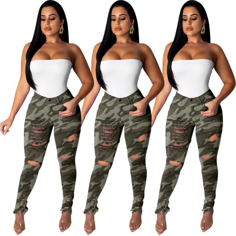 Разорванные Камуфляж джинсы Sexy Women Stretch повседневные джинсовые брюки джинсы камуфляжные штаны