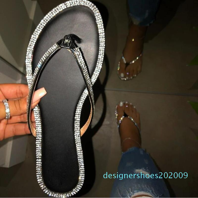 Art und Weise reizvolle römische Strass-Sommer-Schuhe Damen Sandaletten Flache Flip Flops Außen Frauen Strand Pantoffeln Weiblich d08