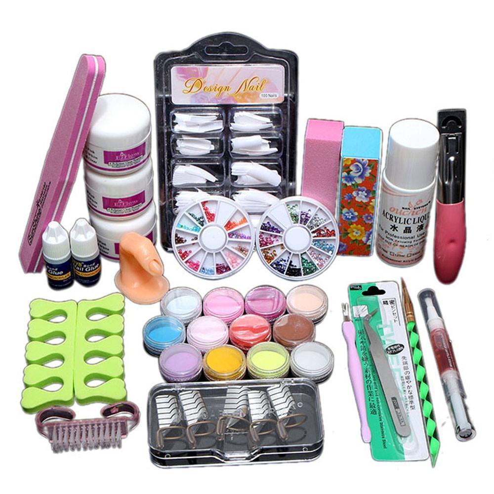 Pro acrylique puissance manucure Kit acrylique Conseils Cutter Glitter Strass fichier Pinceau manucure Nail Art Tool Set Kit Gel