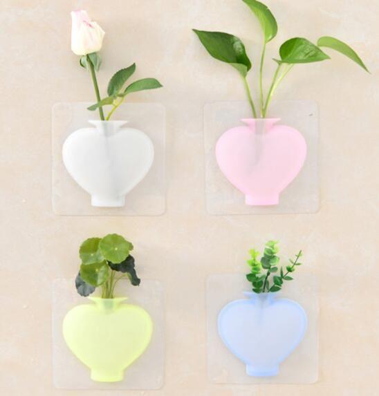 2020-냉장고 실리콘이 꽃병 소프트 꽃병 욕실 스티커 매달려 물 새로운 흡입 컵 벽으로 채울 수 있습니다 모양 붙여 넣기