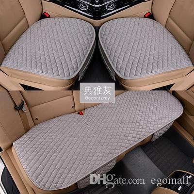 Funda de asiento de coche de tela de lino Four Seasons Front Rear Cojín de lino Protector transpirable Mat Pad Accesorios para automóviles Tamaño universal