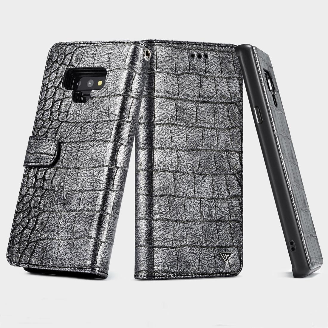 Por 9 funda protectora del tirón WHATIF textura del cocodrilo de TPU + PC + PU horizontal con sostenedor del marco tarjeta de bolsillo ranuras de fotos Galaxy Note