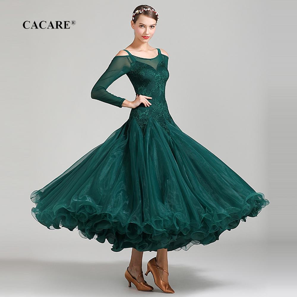 CACARE Lace Ballroom Dance Competition Dresses Tango Waltz Dress Flamenco Standard Dance Dresses D0670 Big Sheer Hem