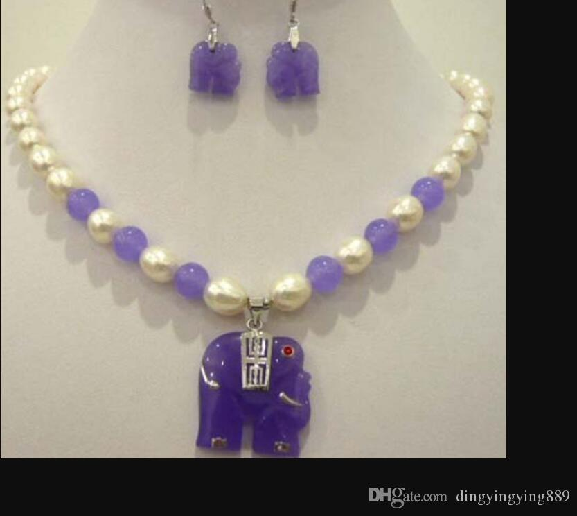 jewelry hot sell new - White pearl purple jade elephant pendant necklace earring