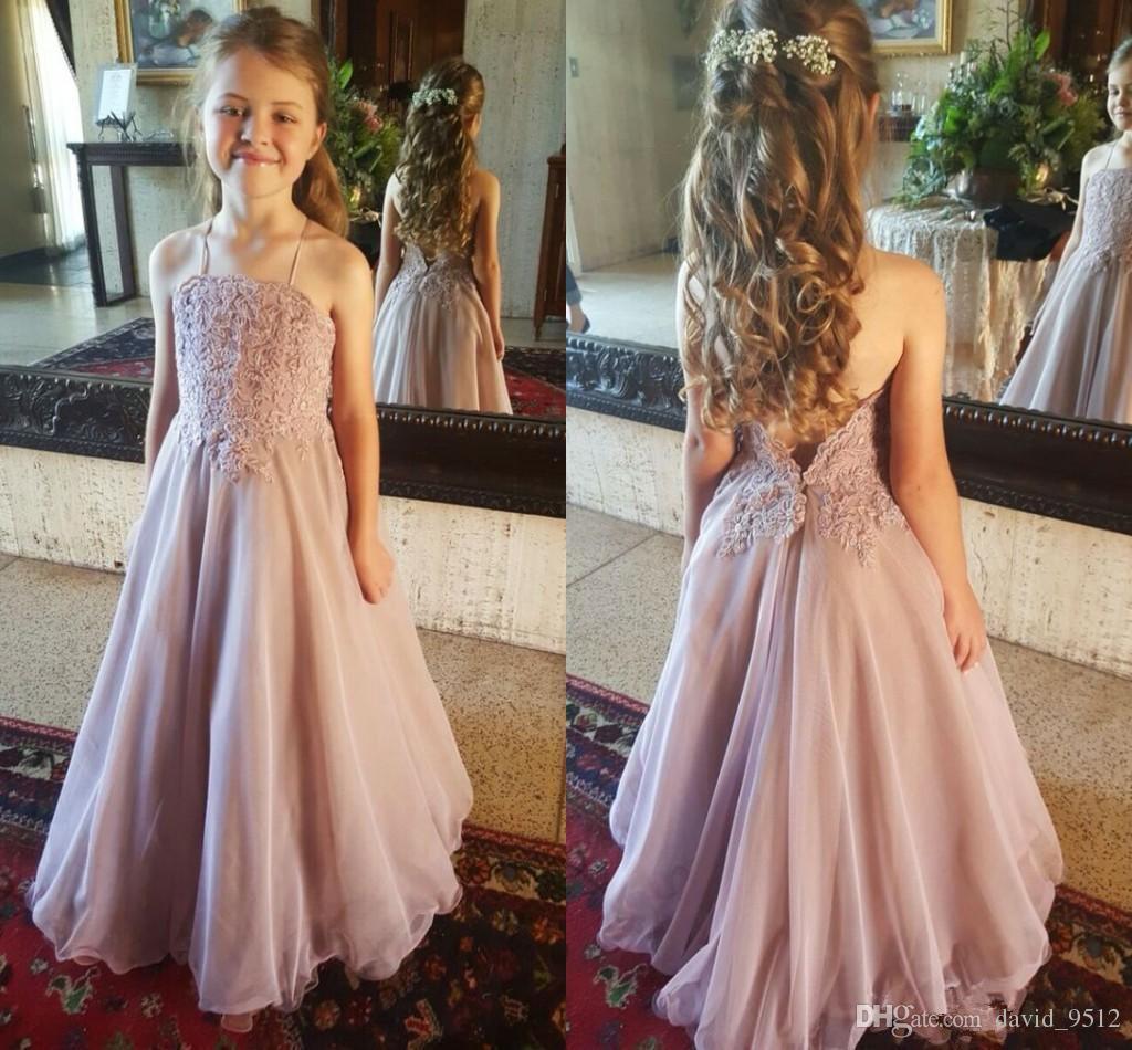 Compre Dusty Pink Beach Country 2019 Pageant Vestidos Para Niñas De Flores Halter Bajo Sin Respaldo Apliques De Encaje De Gasa Vestidos De Fiesta De