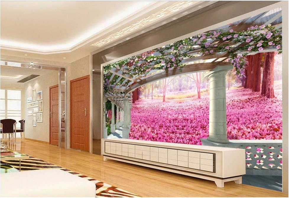 ورق جدران حديث لصحيفة حائط وردية ثلاثية الأبعاد