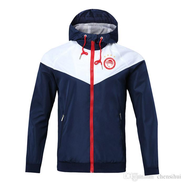 2020 Olympiakos Futbol Fermuar Rüzgarlık Uzun Kollu Ceket Ceket Kış Spor Futbol Rüzgarlık Hoodie Ceket Spor Erkek Ceketler