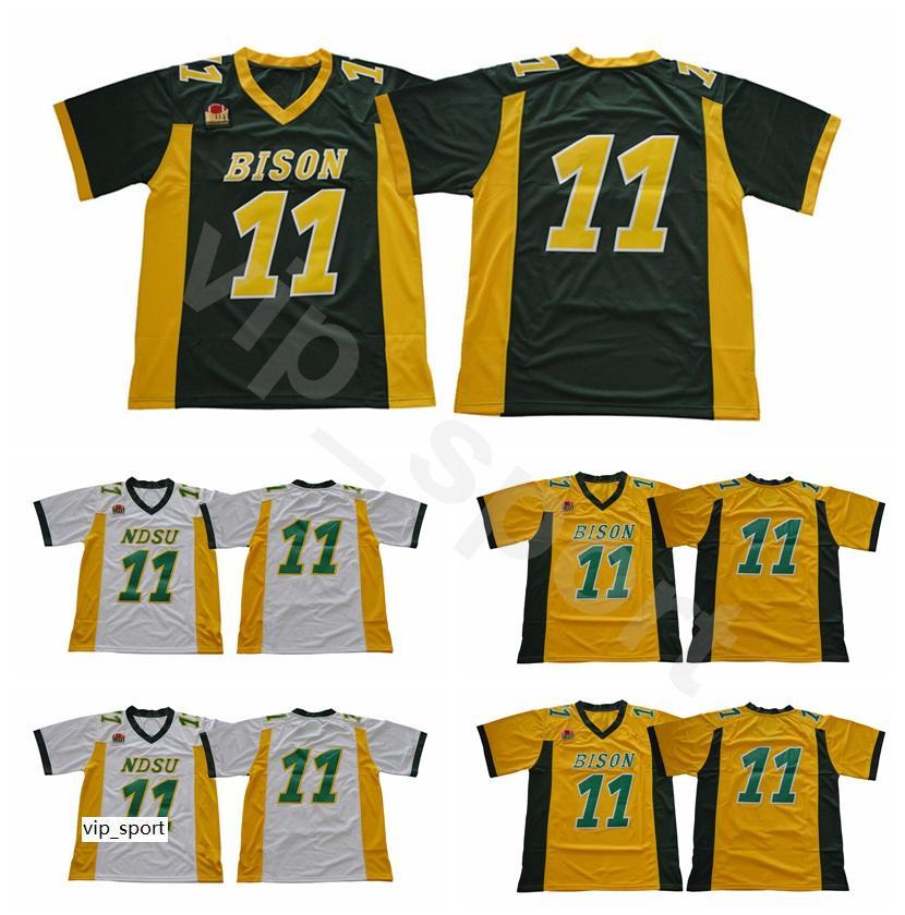NDSU Bison Football Carson Wentz Jersey Green Yellow White Stitched North Dakota State College Uniforms University