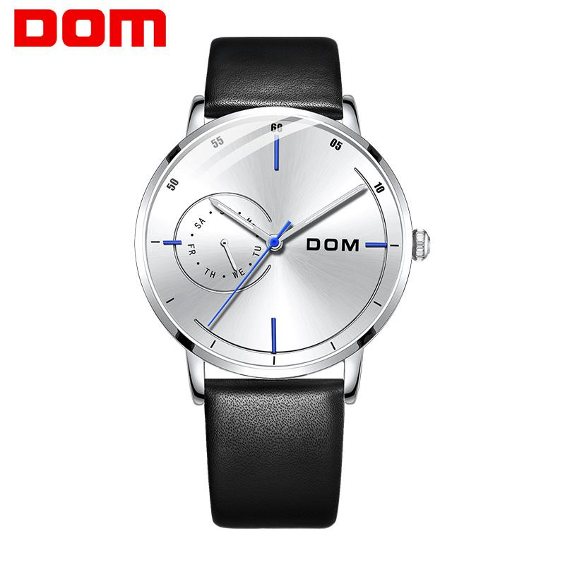 DOM neue Art und Weise der Männer Uhren Woche Quarz-Armbanduhr-30M wasserdichte leuchtende Sport-Lederband Uhren Männer M-1273BL-7M