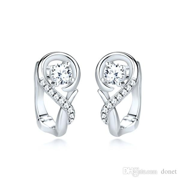 925 Sterling Silver Infinite Diamond Earrings for Women Crystal Stud Earrings Sterling Silver Jewelry Valentine Day Gifts