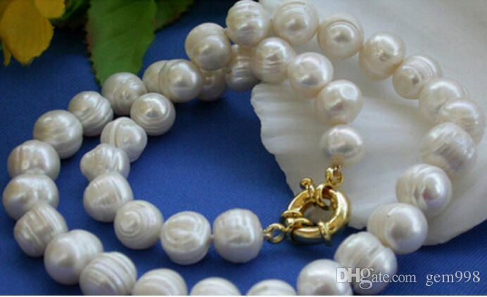 FREE SHIPPING ++ 10-11mm Weiß Akoya kultivierte Perlen Necklace18 ''