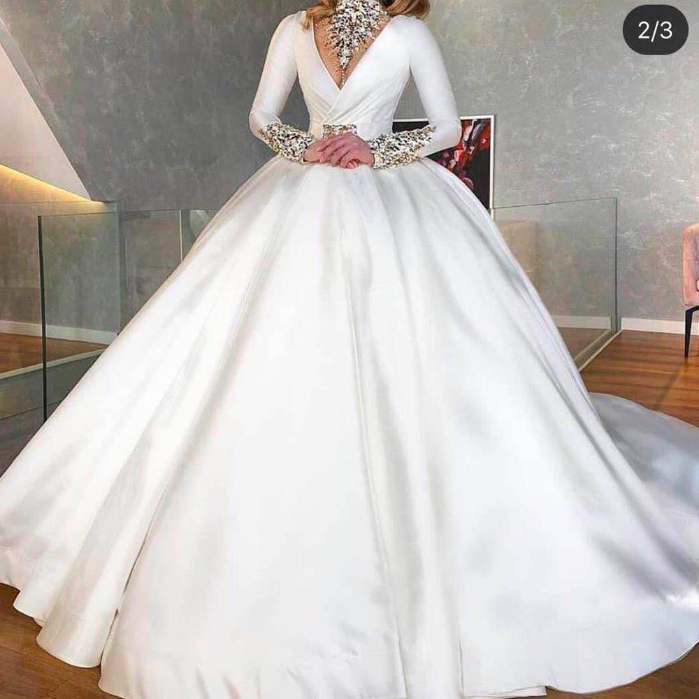 Kristal Gelinlik 2020 Uzun Kollu Yüksek Boyun Balo Beyaz Gelin Elbiseleri Vestidos De Noiva