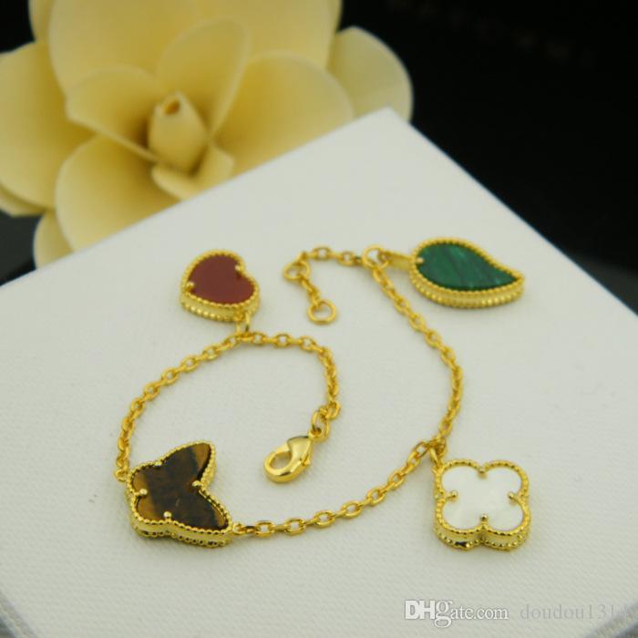 النحاس مطلية بالذهب الأحمر القلب فراشة بيضاء زهرة الأخضر أوراق سحر أساور للنساء وصول جديدة الساخن بيع الأزياء والمجوهرات الفاخرة