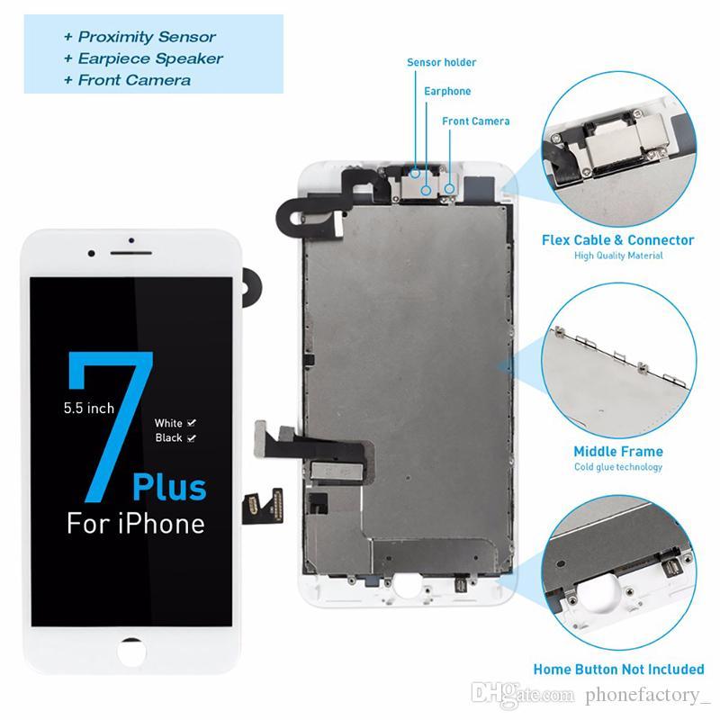 Voller Satz hochwertige LCD für iPhone 07.07 Plus Screen Digitizer komplette Montage mit Front-Kamera + Back Plate TEST eins nach dem anderen