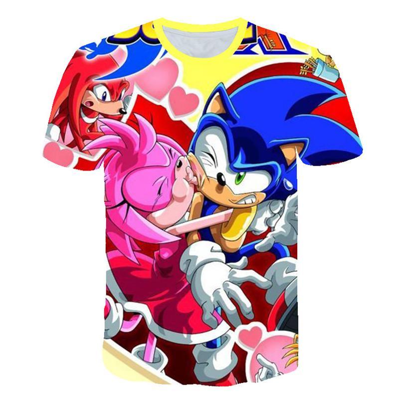 Sommer-neues T-Shirt Male 3D-Druck-T-Shirt Fashion Summer Sonic The Hedgehog Druck Hip Hop-T-Shirts Beliebt Kurzarm-T-Shirt Men # 125
