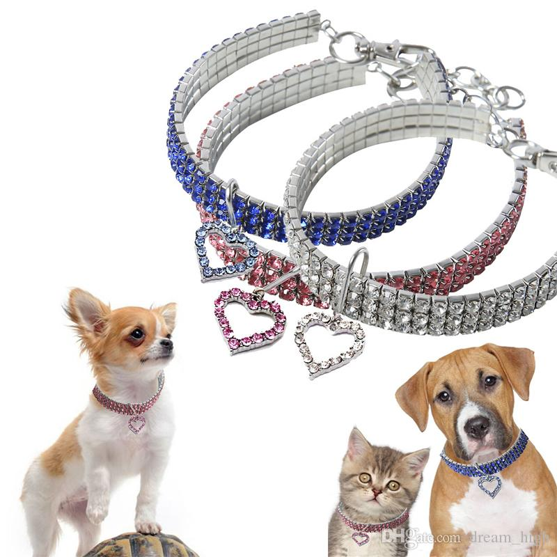 Pet Collar Dog Cat Bling Rhinestone Heart Crystal Necklace Collars Leash for Puppy Small Medium Dogs Diamond Jewelry