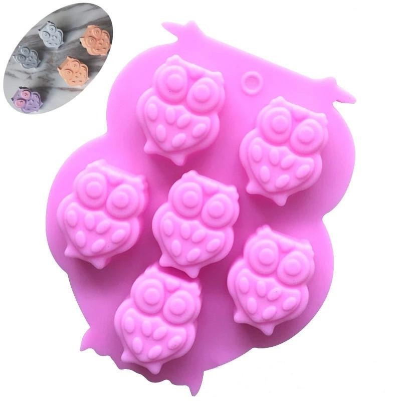 1PCS 6 Holes 3D Owl Silicone Mold Making A Cake Ice Tray Chocolate Mould Fondant Mould Cake Decorating Tools Kitchen Accessories