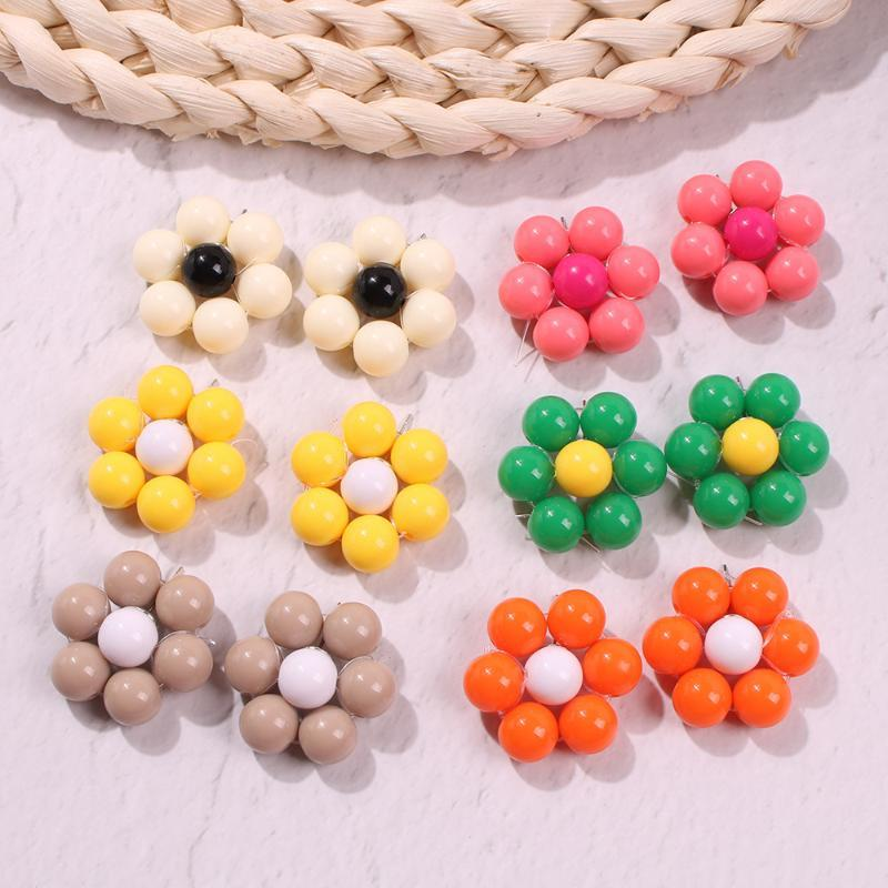 2e5931 mei di Japanese Korean Hot Sales Summer Candy Color Vacation Style Ear Stud Handmade Beaded Bracelet Flower Weep Yafeng E