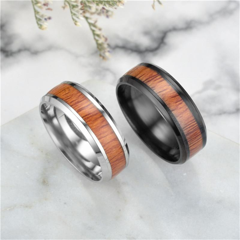 Uomini anelli nero / argento in acciaio inox in acciaio inox grano di moda donna anelli gioielli maschili regali