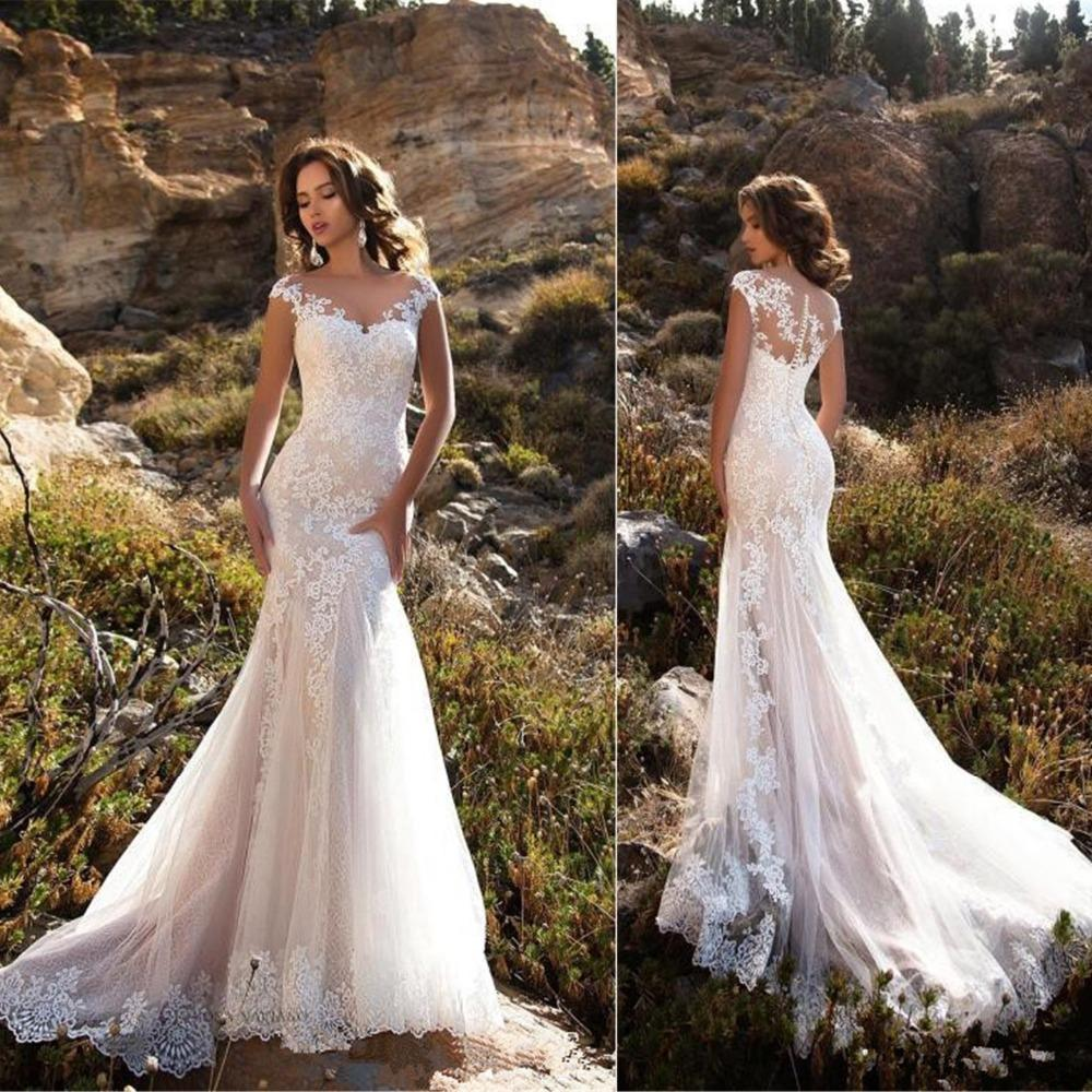 Sleeveless Double Shoulder Neck Appliqued Lace Wedding Dresses 2019 Mermaid Trumpet Train Illusion bridal gown dress White
