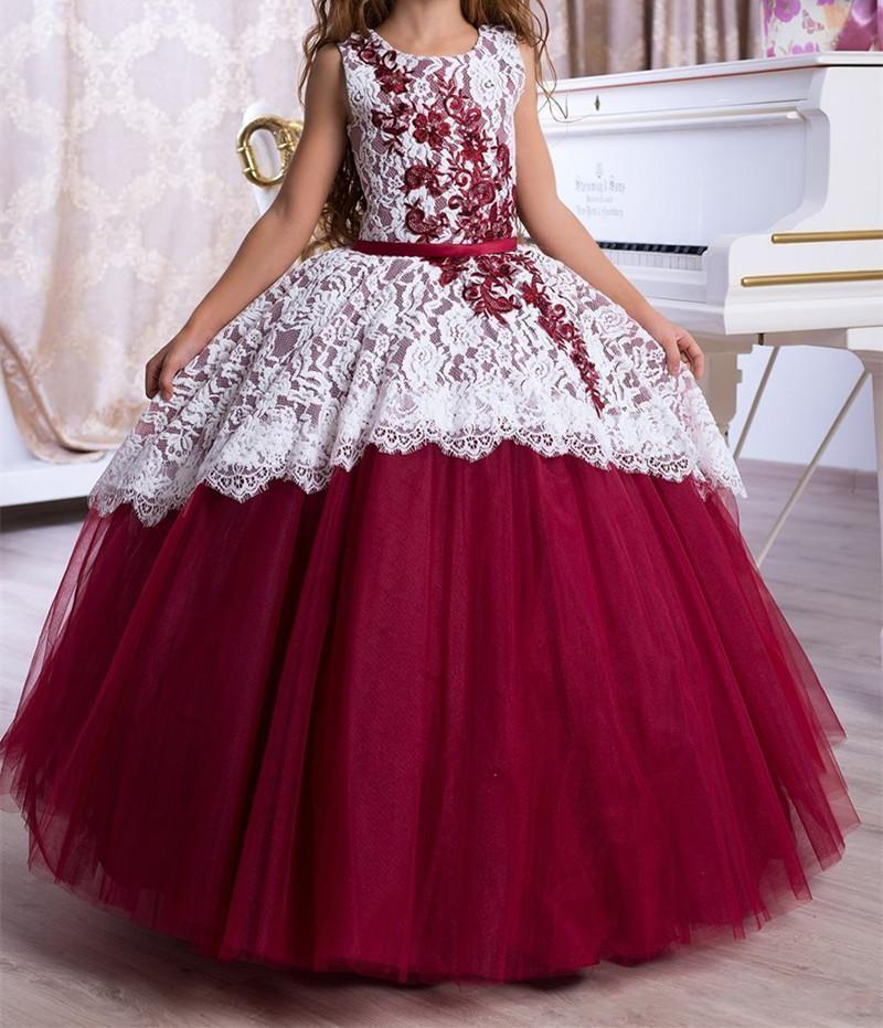 Spring 2020 Beautiful Princess Ball Gown Flower Girl Dresses Jewel Neck White Lace Overlay Burgundy Tulle Teenage Birthday Party Dresses