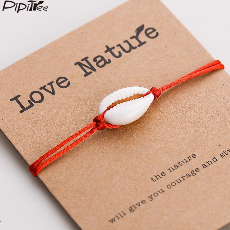 Pipitree Liebe Natur Shell Charm Armband Kraft Papier-Karten-Geschenk Handgemachte rote Schnur-Armbänder für Damen Herren Kinder Schmuck