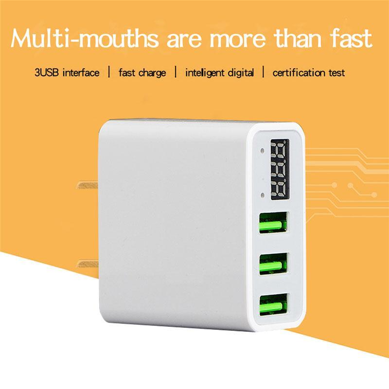 빠른 아이폰 삼성 샤오 미 태블릿의 경우 스마트 휴대 전화 충전기를 충전 3 포트 USB 충전기 EU 미국 플러그 LED 디스플레이 3.1A