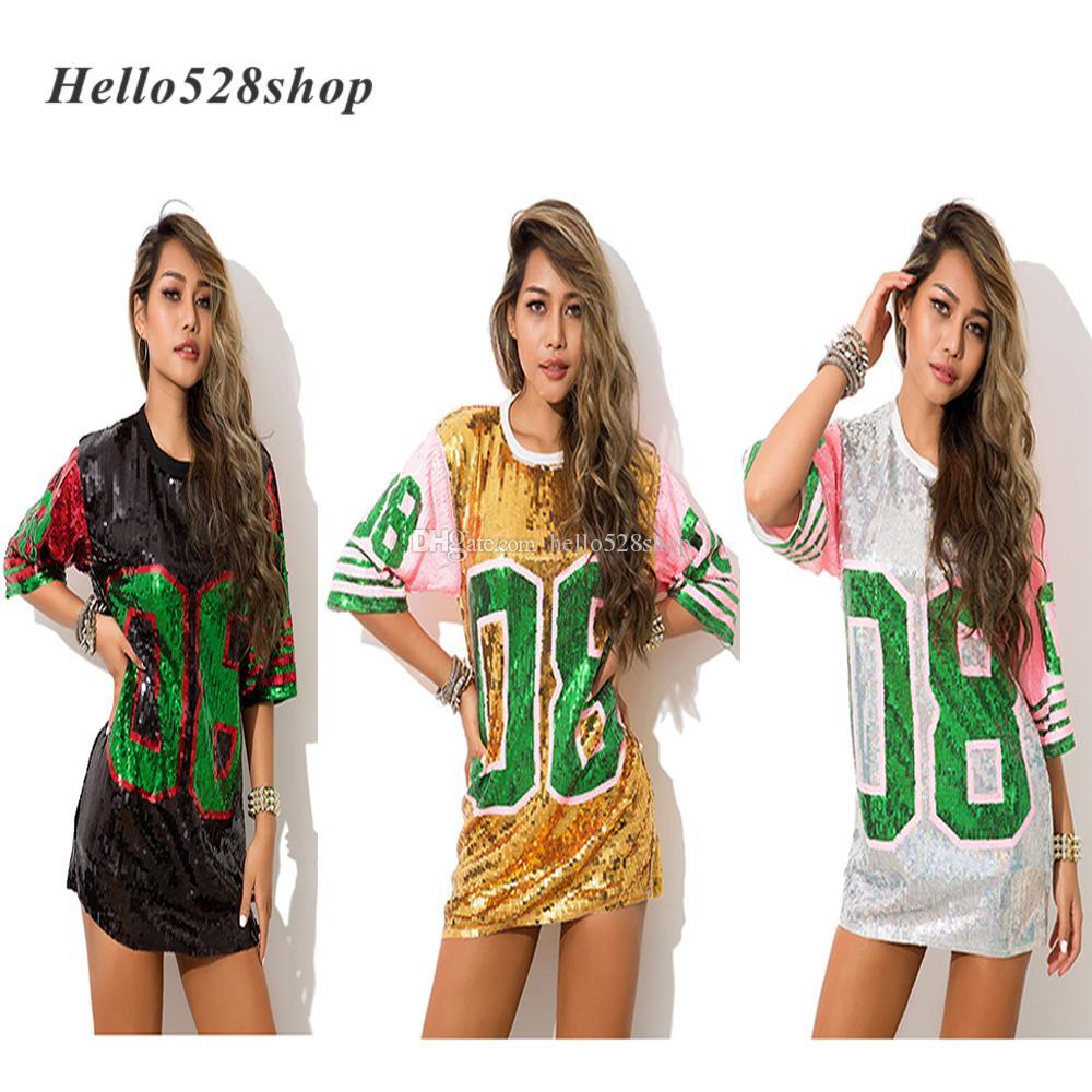 Hello528shop Moda rosa 08 Hip Hop Dance Camicie donna paillettes Mini vestiti da prestazione Costume di scena lungo T-shirt