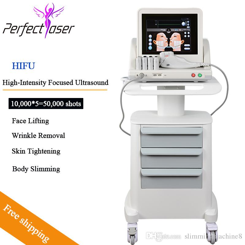 HIFU alta intensidad centrado Ascensor Ultrasound HIFU cara máquina de eliminación de arrugas Con 5 cabezas para cara y cuerpo