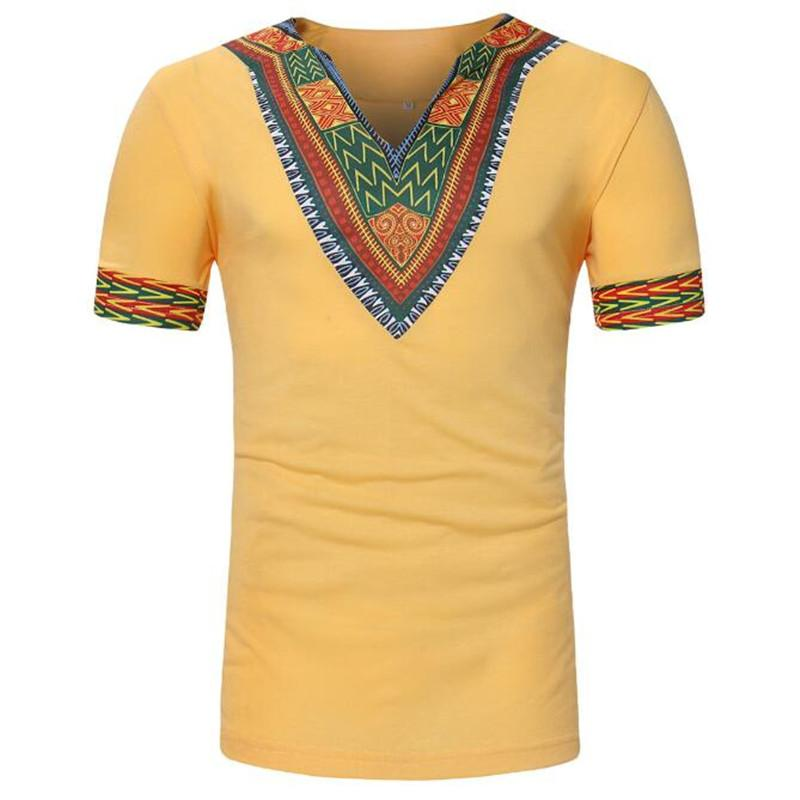 Ethnic Clothing African Traditional For Men Dashiki Summer T Shirt Print Yellow Red Blue White Black T-shirt Male Africa Clothes