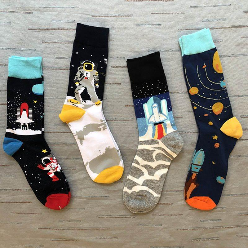 Astronaut Make Rainbow Cool Fashion Custom Creative Sport 3D Printed Crew Socks