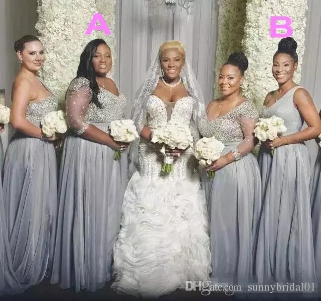 아프리카 플러스 사이즈 신부 들러리 드레스 긴 소매 명예 드레스 한 어깨의 하녀 파란색 스팽글 두 가지 스타일 웨딩 파티 드레스