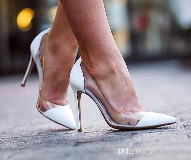 Bombas transparente dedo del pie acentuado señora atractiva zapatos de punta casquillo libre del envío slip-on de las mujeres altos del vestido de partido de marca zapatos de las sandalias