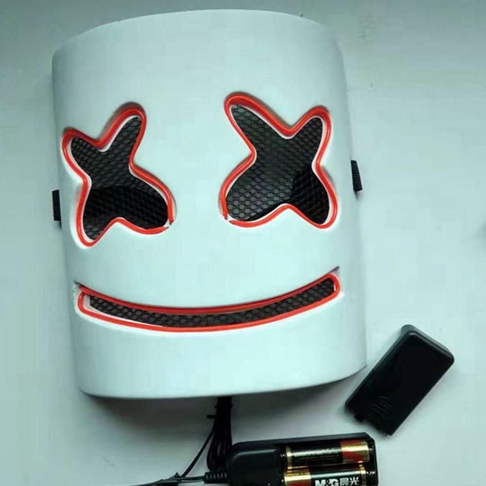 Compre Máscara De Marshmallow Que Brilla Intensamente Máscara De Dj Casco De Marshmello Con La Iluminación De La Novedad De Los Niños De Los Cabritos