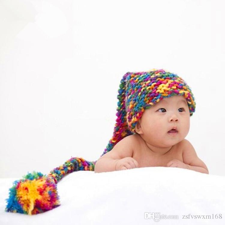 الطفل التصوير الفوتوغرافي الصوف طويل الذيل غطاء حليب القطن والصوف اليدوية اللون مزين الطفل قبعة الكرتون