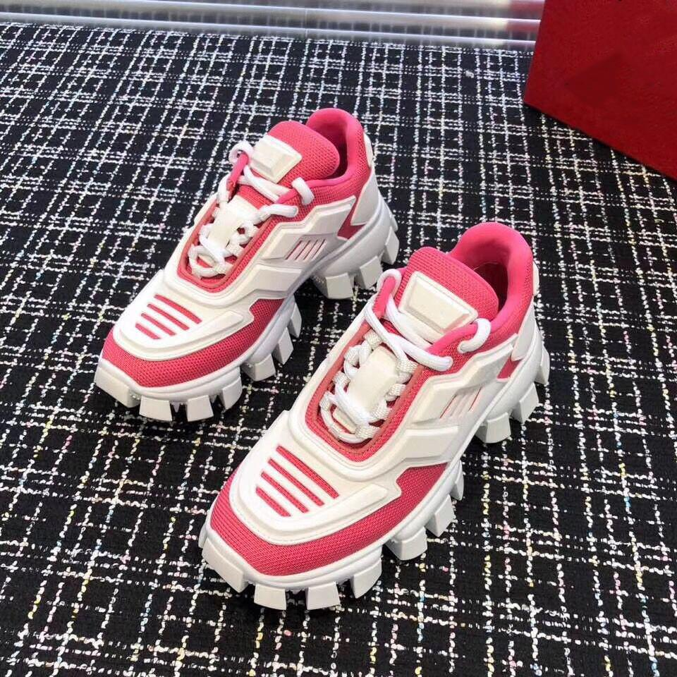 Los hombres zapatos de diseño Cloudbust trueno de punto zapatilla de deporte de las mujeres zapatos de cuero Negro Blanco ocasional L24 zapatos de malla zapatilla de deporte con cordones de triple plano de la vendimia