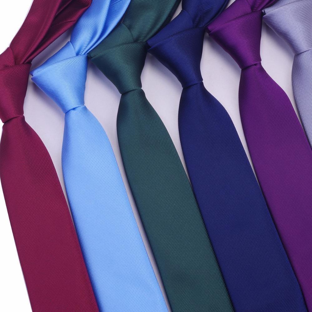 Skinny Necktie Polyester Plain Ties For Men Wedding Suit Slim Classic Solid Color Neck Tie Casual Pure 6cm Red Tie
