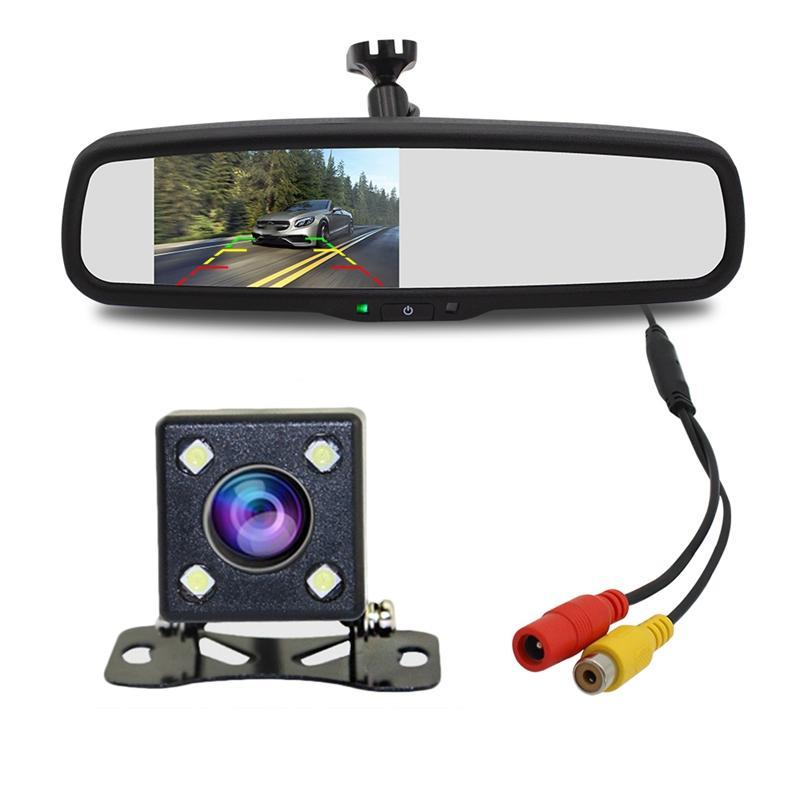 4.3inch شاشة 800X480 فيديو السيارة الخلفي مراقب لاعب الداخلية مرآة الرؤية استبدال مع عكس نظام وقوف السيارات النسخ الاحتياطي كاميرا