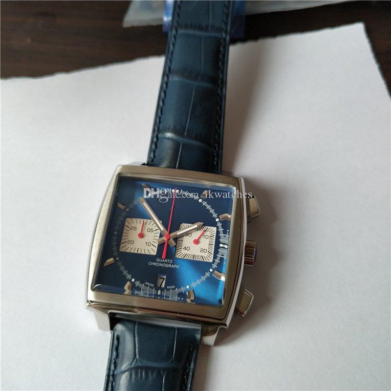 Heißer Verkauf Mann-Uhr-Sport-Art-Quarz Stoppuhr Edelstahl Uhr für Mann-Armbanduhr-blaues Lederband T02