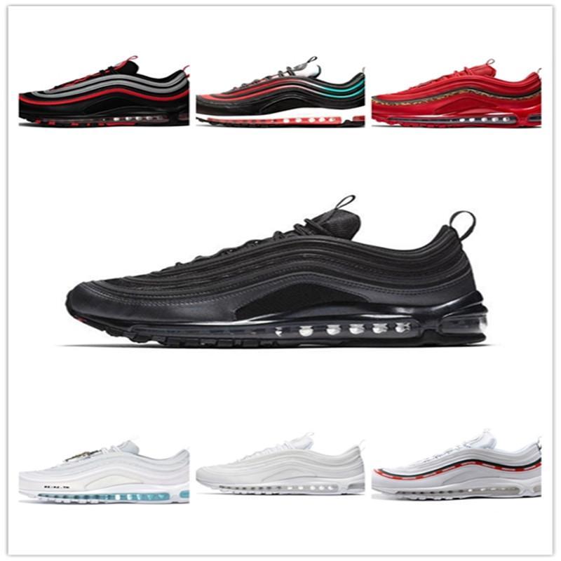 2020 97 97s Mens женщин кроссовки Классический качества Тройной Белый Черный Красный Синий Спорт случайные Прогулки тапки